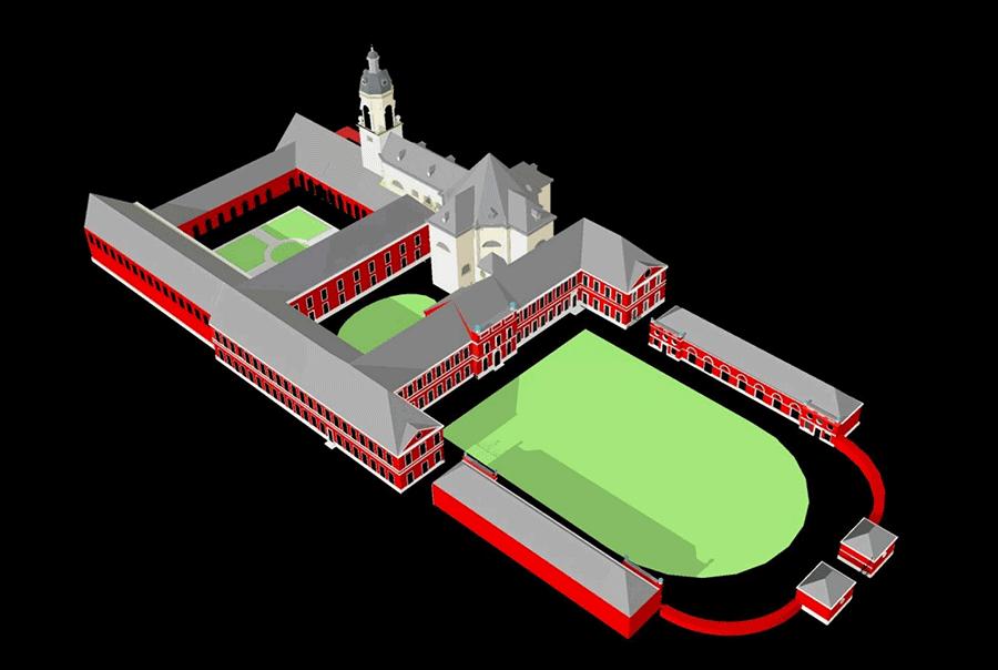 Integratie van de kerk in de abdijgebouwen