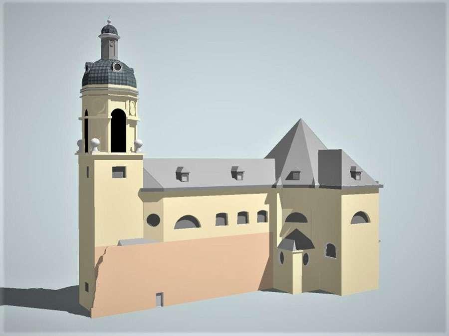De kerk is opgetrokken uit witte zandsteen