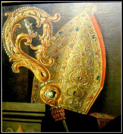 Mijter en staf op portret abt Meugens