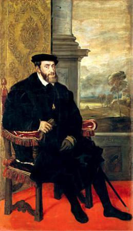 Karel V (1519-1556) door Titiaan.