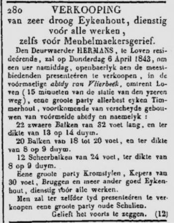 Journal des Petites Affiches 19 maart 1843